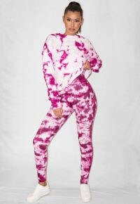 raspberry tie dye rib missguided deep waistband leggings / logo print legging