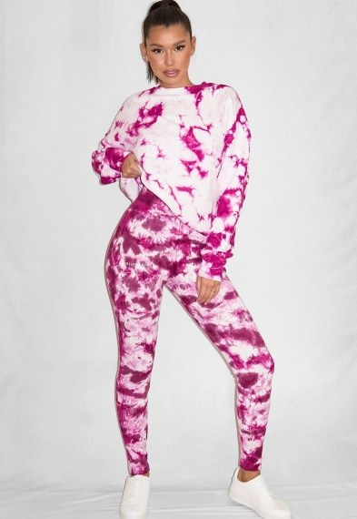 raspberry tie dye rib missguided deep waistband leggings / logo print legging - flipped
