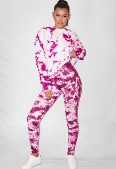 raspberry tie dye rib missguided deep waistband leggings / logo print legging