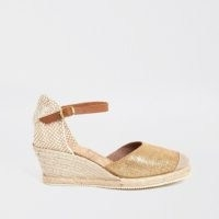 Ravel gold wedge sandal | ankle strap espadrille-wedged heels