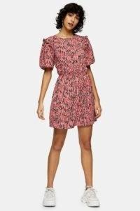 Topshop Red Animal Print Puff Sleeve Mini Dress