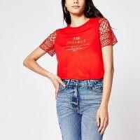 RIVER ISLAND Red crotchet sleeve slogan print t shirt / bright t-shirts