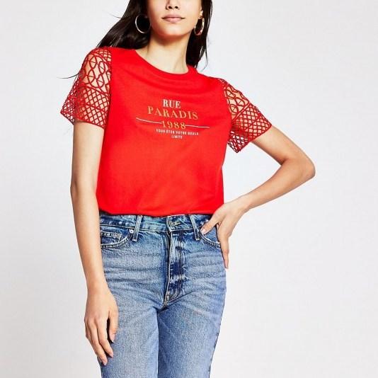 RIVER ISLAND Red crotchet sleeve slogan print t shirt / bright t-shirts - flipped