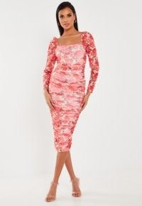 Missguided red floral mesh ruched midi dress ~ feminine bodycon