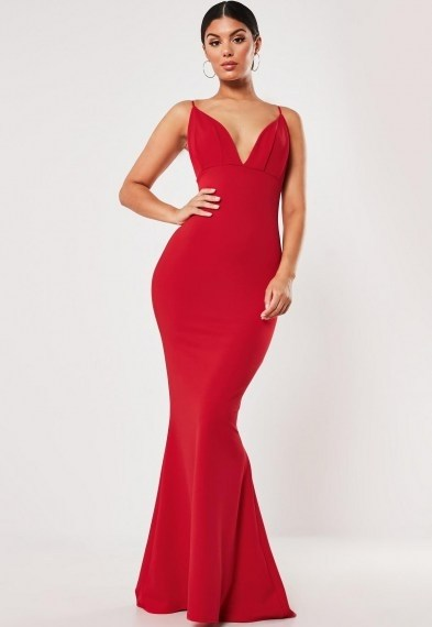 Missguided red pleated bust fishtail maxi dress ~ long length plunging bodycon ~ glamour - flipped