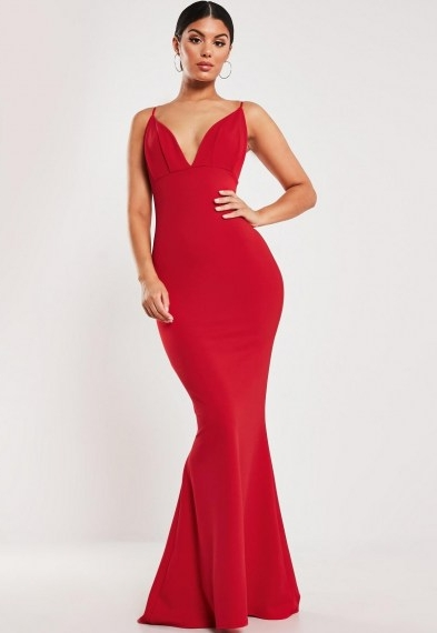 Missguided red pleated bust fishtail maxi dress ~ long length plunging bodycon ~ glamour