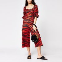 RIVER ISLAND Red tiger print sweetheart neck jumpsuit
