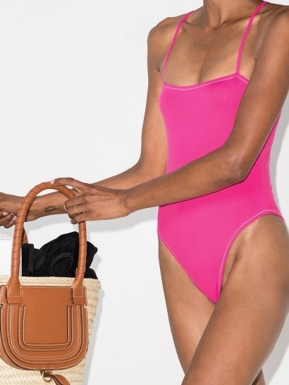Reina Olga Chloe cutout swimsuit / hot-pink cut out swimsuits - flipped