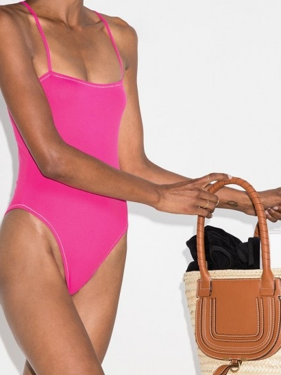 Reina Olga Chloe cutout swimsuit / hot-pink cut out swimsuits