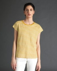 JIGSAW RELAXED COTTON SLUB STRIPE TEE Sunflower / yellow striped t-shirts / boxy t-shirt