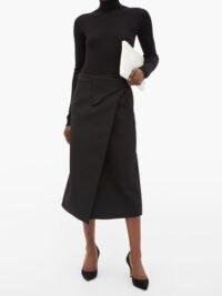 WARDROBE.NYC Release 05 wool wrap midi skirt ~ black skirts