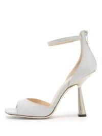 JIMMY CHOO Reon 100 spool-heel glittered leather sandals ~ silver party heels