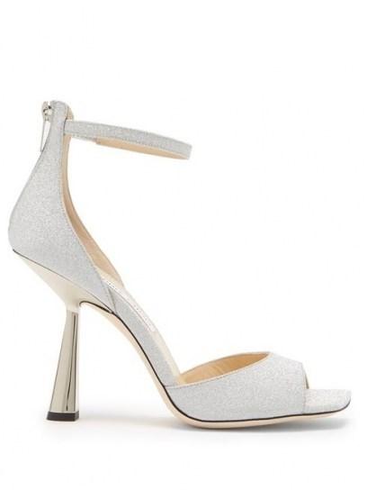 JIMMY CHOO Reon 100 spool-heel glittered leather sandals ~ silver party heels - flipped