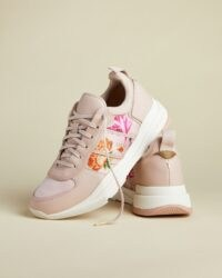 TED BAKER KEATONR Rhubarb chunky leather mix trainers ~ floral sports shoes