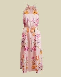 TED BAKER MEGARRA Rhubarb halterneck midi dress dusky pink