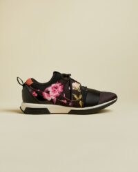TED BAKER NEMAR Rhubarb runner trainers ~ black floral trainer