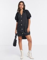 River Island button front puff sleeve mini dress in black | high low shirt dresses