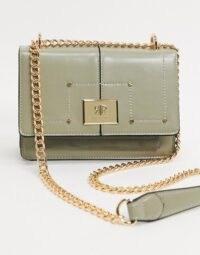 River Island lock satchel cross body in green ~ chain strap crossbody bags