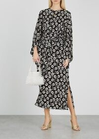 RIXO Stevie black printed silk midi dress ~ monochrome side split dresses