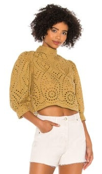 ROLLA'S Stephanie Lace Blouse – Harvest | puff sleeve high neck cut-out top