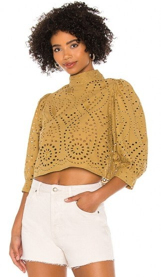 ROLLA'S Stephanie Lace Blouse – Harvest | puff sleeve high neck cut-out top - flipped