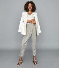 REISS ROSALIE WRAP-FRONT TROUSERS GREY ~ wrap front design pants