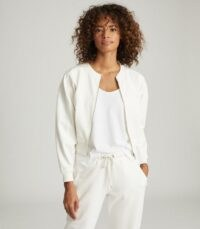 REISS ROSALYN CROPPED JERSEY ZIP THROUGH JACKET CREAM / casual jackets