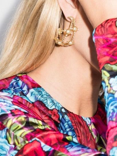 Rosantica gold-tone crystal hoop earrings / glamorous statement hoops