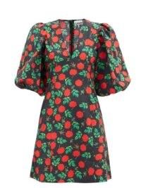 GANNI Rose-print V-neck cotton mini dress ~ oversized puff sleeve dresses