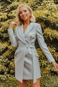 LAVISH ALICE x rosie connolly buckle detail blazer dress in dusty blue ~ going out jacket dresses