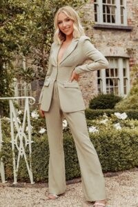 LAVISH ALICE x rosie connolly corset style tailored jacket in olive ~ cinched waist jackets