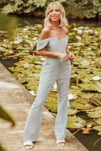LAVISH ALICE x rosie connolly off shoulder corset jumpsuit in pastel blue ~ bardot jumpsuits