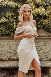 LAVISH ALICE x rosie connolly off shoulder corset wrap dress in champagne ~ luxe look bardot dresses