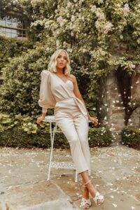 LAVISH ALICE x rosie connolly one sleeve corset wrap jumpsuit in champagne ~ asymmetric evening jumpsuits