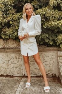 LAVISH ALICE x rosie connolly puff sleeve shirt dress with belt in white ~ oversized puffed sleeves ~ going out dresses