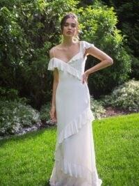 REFORMATION Rosita Dress Ivory ~ asymmetrical ruffles & necklines