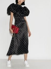 ROTATE dawn polka dot midi dress / open back dresses / bold puff sleeves