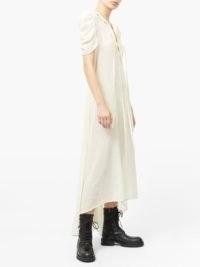 ANN DEMEULEMEESTER Ruffled neck linen-blend shirt dress ~ sheer ruched sleeve dresses