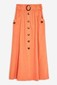 Topshop Rust Linen Blend Belted Midi Skirt