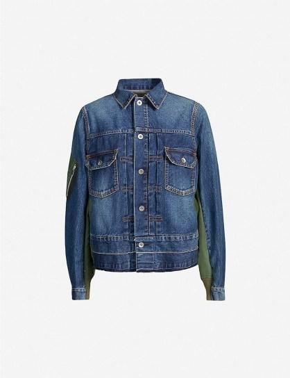 SACAI Contrast-panel denim jacket - flipped