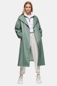 Topshop Sage Pleated Back Trench | green belted coats