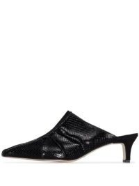 Salondeju snake-effect 50mm mules / black point-toe gathered mule