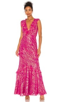SALONI Rita Dress Magenta Metallic | shimmering ruffle-trim maxi