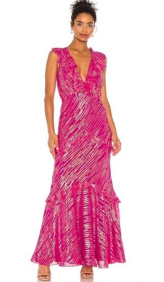 SALONI Rita Dress Magenta Metallic   shimmering ruffle-trim maxi - flipped