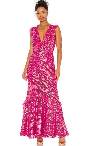 SALONI Rita Dress Magenta Metallic   shimmering ruffle-trim maxi