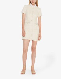 SANDRO Taly ruffled-collar mini dress ~ tweed frill neck dresses