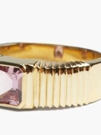 RETROUVAI Sapphire & 18kt gold pleated cigar-band ring / textured purple stone rings
