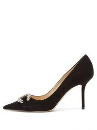JIMMY CHOO Saresa 85 crystal-embellished suede pumps ~ black point toe stiletto courts