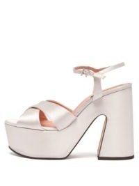 ROCHAS Satin platform sandals ~ white luxury platforms