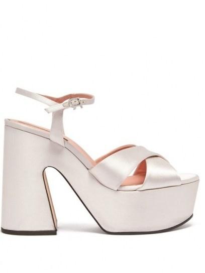 ROCHAS Satin platform sandals ~ white luxury platforms - flipped